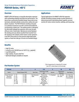 KEMET PEH169 Series Aluminum Electrolytic Capacitors