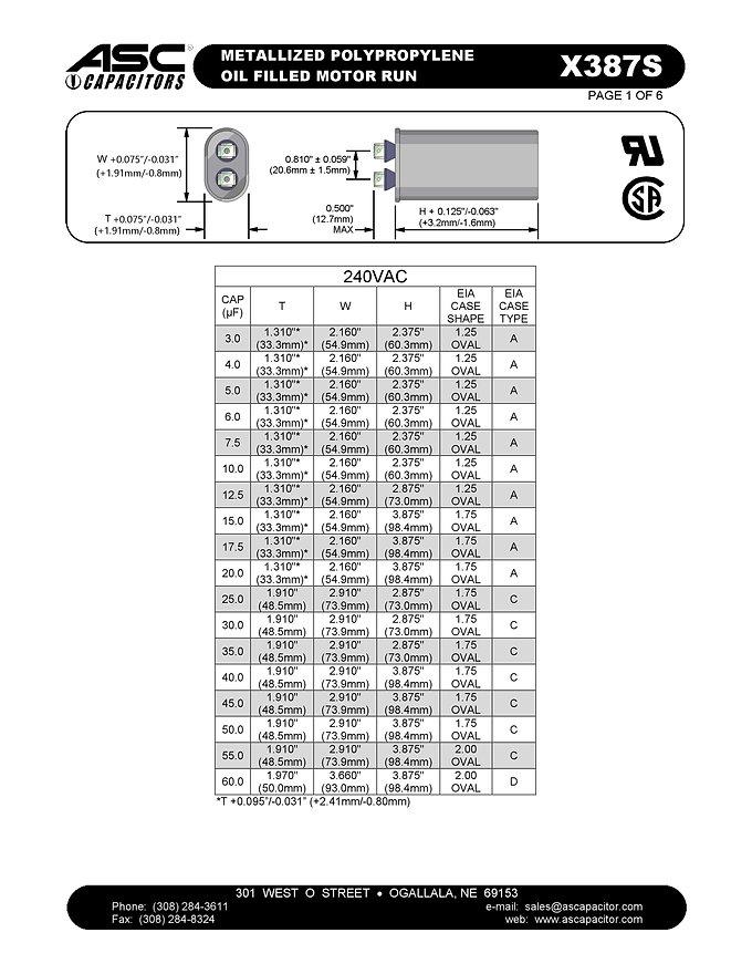 ASC X387S Series Film Capacitors