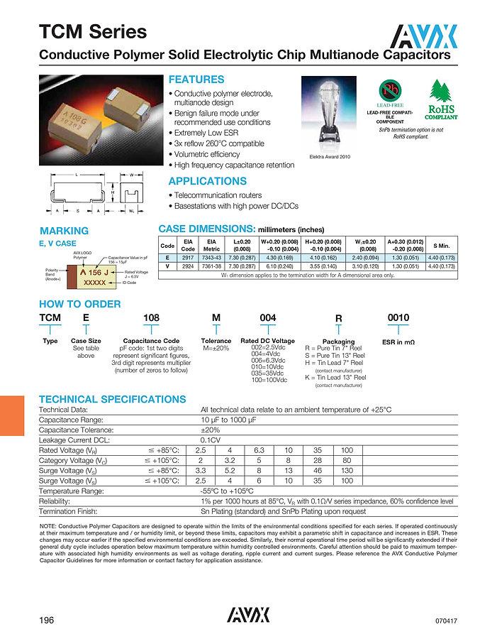 AVX TCM Series Polymer Capacitors
