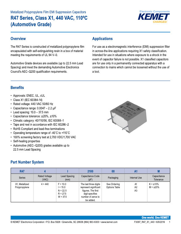 KEMET R47 Series Plastic Film Capacitors