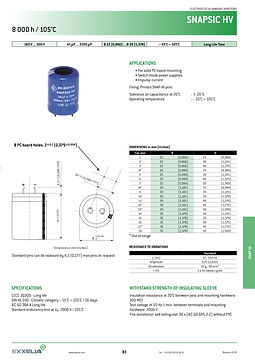 SIC SAFCO SNAPSIC HV Series Snap In Aluminum Electrolytic Capacitors