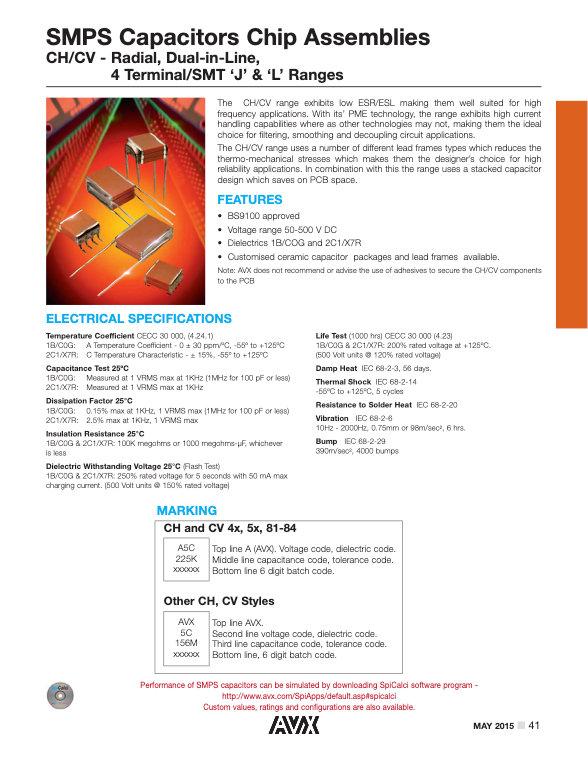AVX CH/CV Series MLC Capacitors