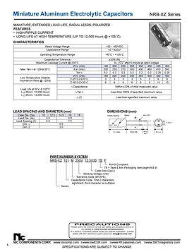 NIC Components NRB XZ Series Aluminum Capacitors