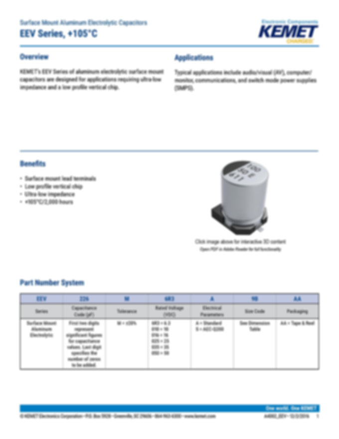 KEMET EEV Series Aluminum Electrolytic Capacitors