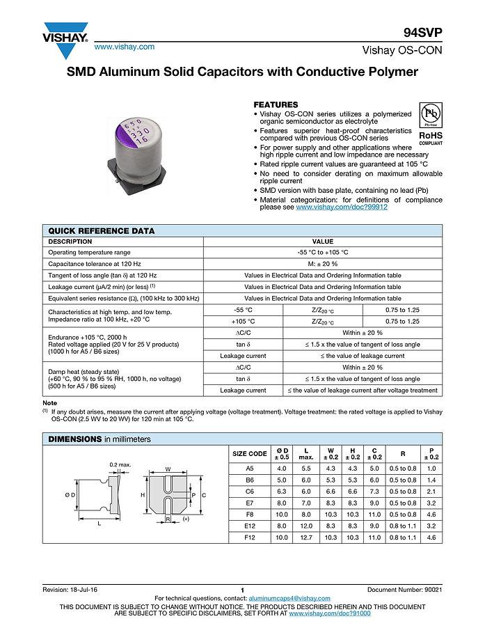 Vishay 94SVP Series Aluminum Polymer Capacitors