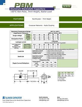 Illinois Capacitor PBM Series Radial Aluminum Electrolytic Capacitors