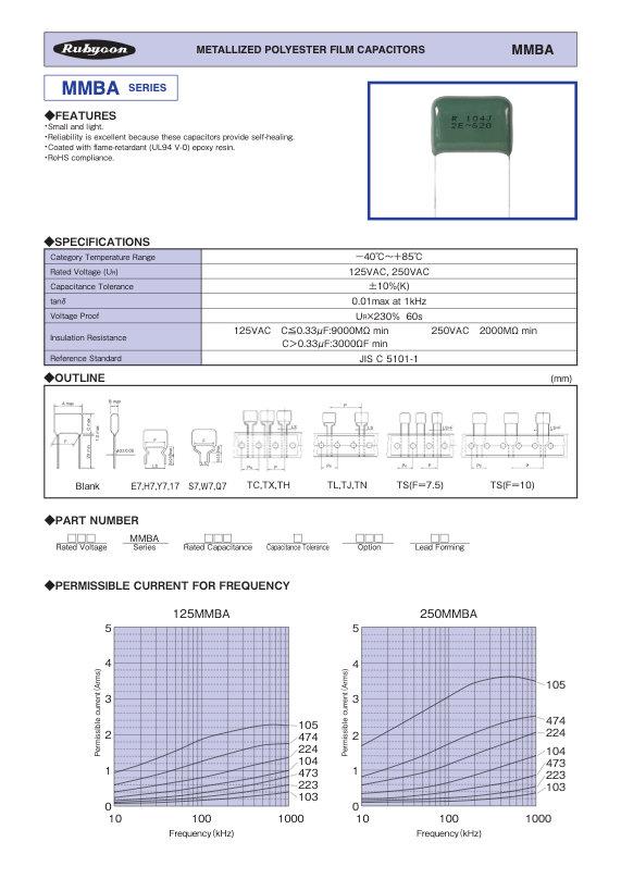 Rubycon MMBA Series Radial Plastic Film Capacitors