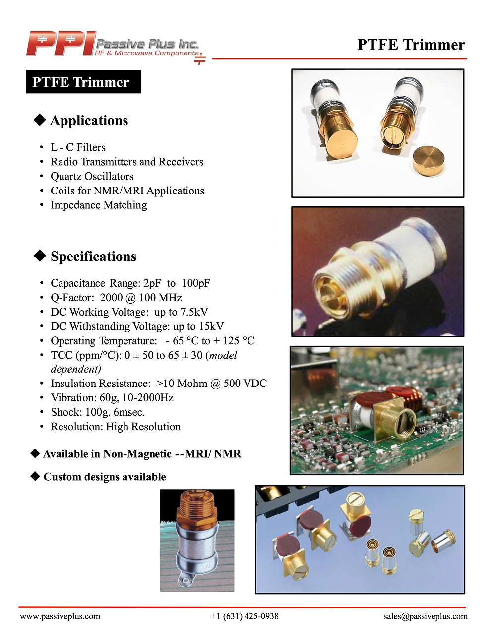 Passive Plus PTFE Trimmer Capacitor Data Sheet