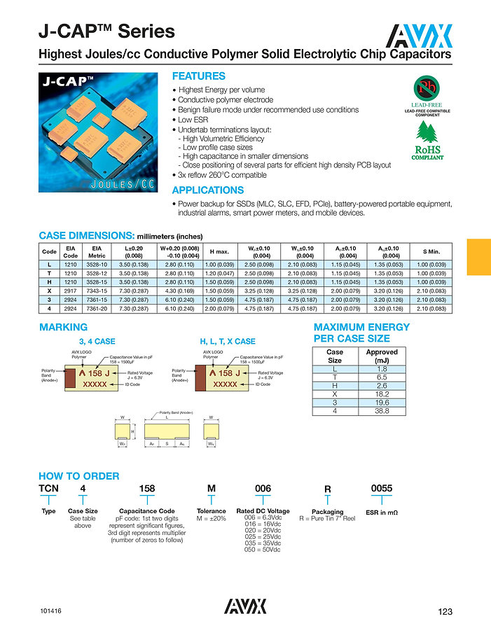 AVX J CAP™ Series SMT Tantalum Capacitors