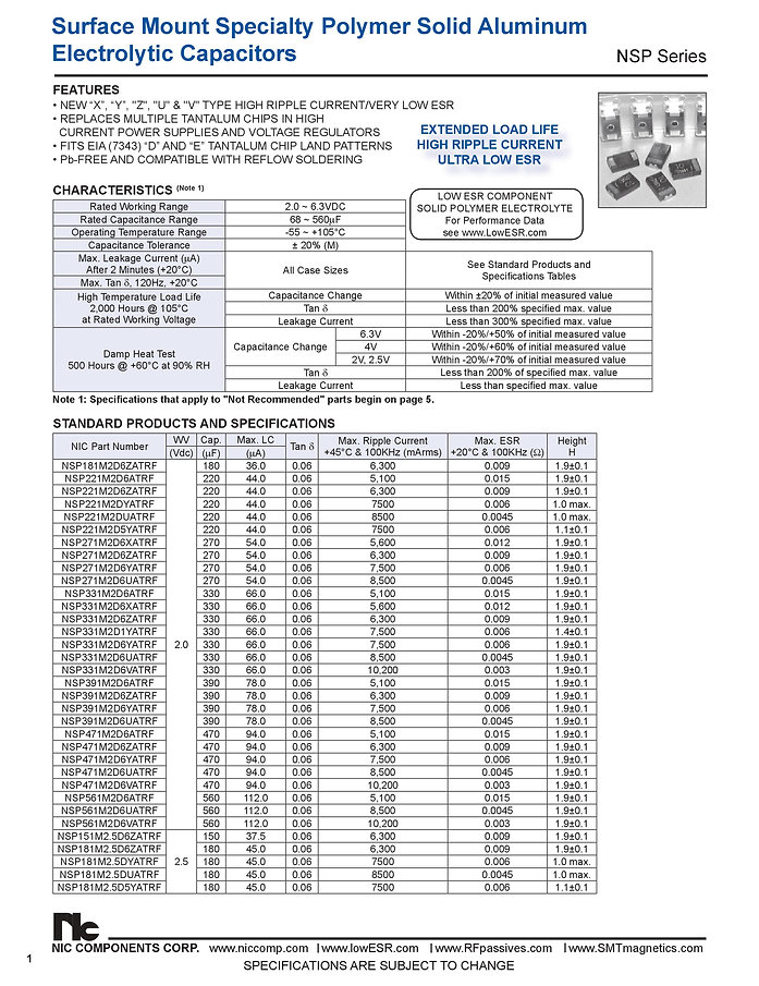 NIC Components NSP Series Aluminum Capacitors