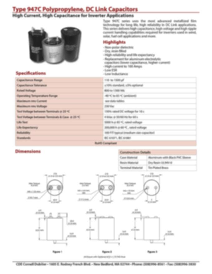 CDE 947C Series DC Link Capacitors