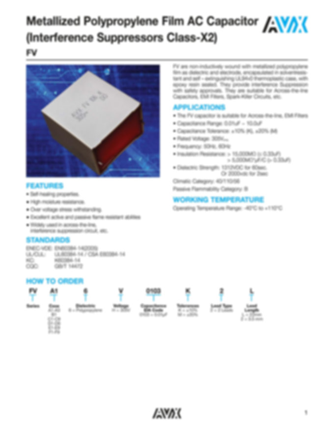 AVX FV Series Interference Suppression Capacitors