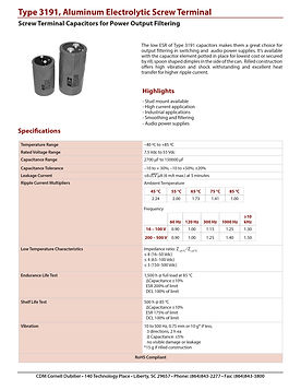 CDE Type 3191 Screw Terminal Aluminum Electrolytic Capacitors