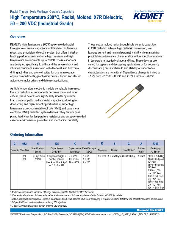 KEMET High Temperature X7R Radial MLC Capacitors