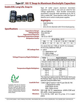 CDE Type LP Snap In Aluminum Electrolytic Capacitors