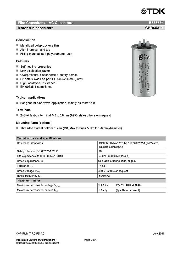 Epcos B33335 Series Plastic Film Capacitors