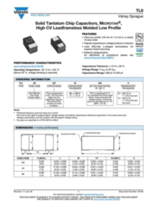 Vishay TL8 Series Tantalum Capacitors