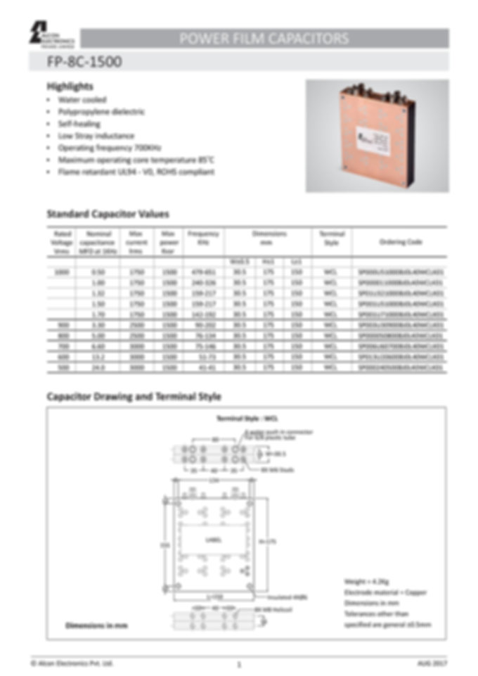 Alcon Electronics FP-8C-1500 Series Film Capacitors