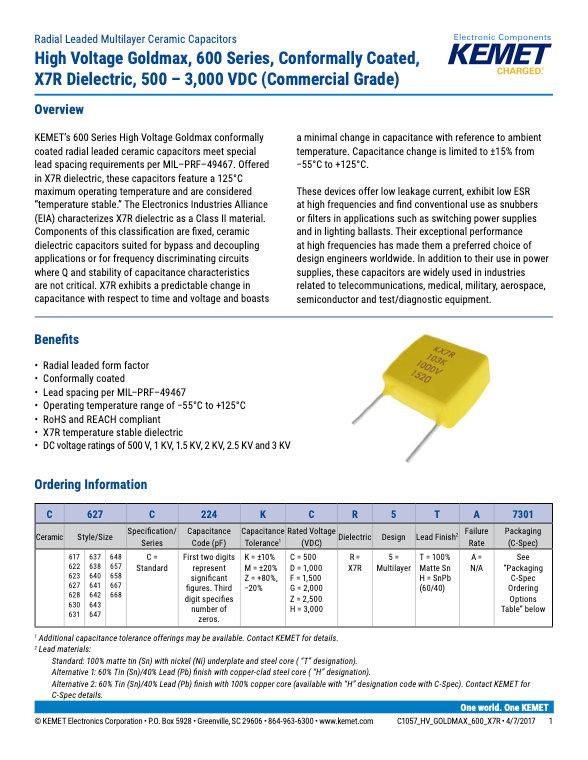 KEMET Goldmax 600 X7R High Voltage Commercial Grade MLC Capacitors