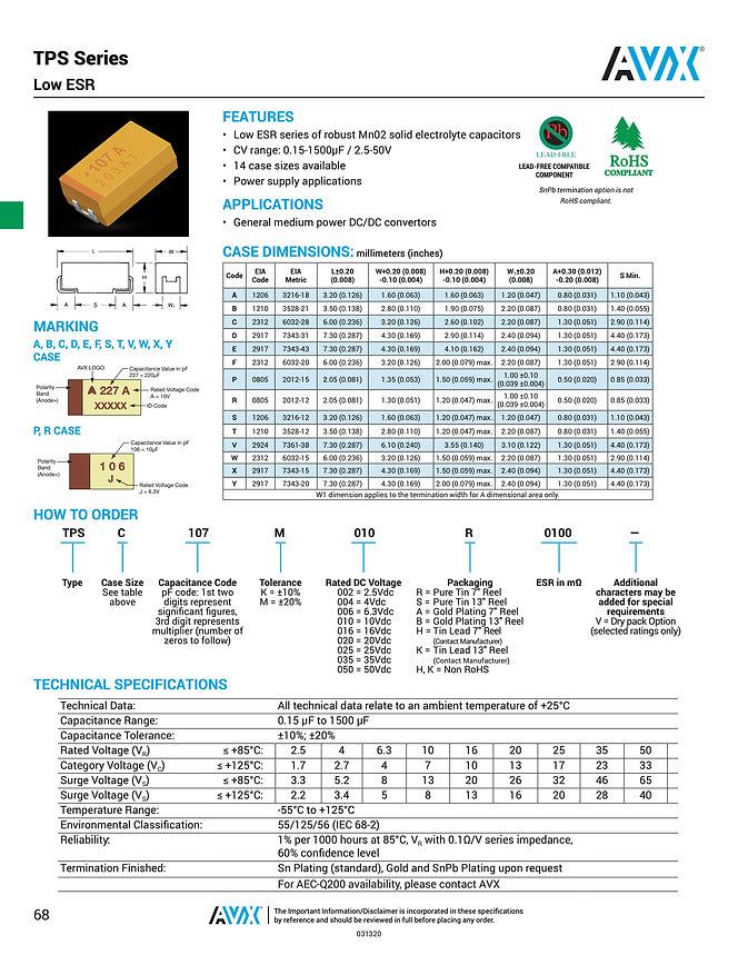 AVX TPS Series Tantalum Capacitors