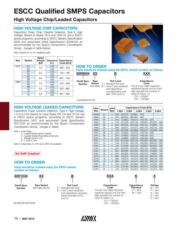 AVX ESCC Qualified High Voltage MLC Capacitors