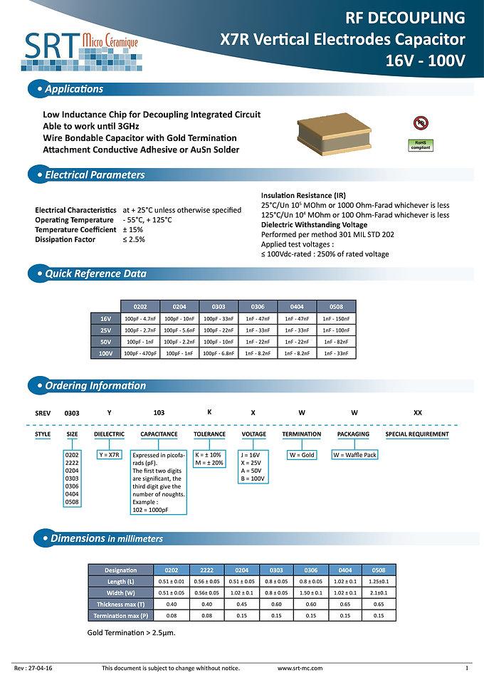 SRT Microceramique Vertical Layer MLC Capacitors