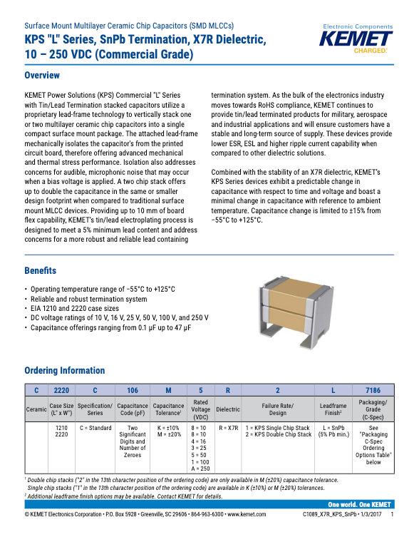 KEMET KPS Series X7R Sn Pb MLC Capacitors
