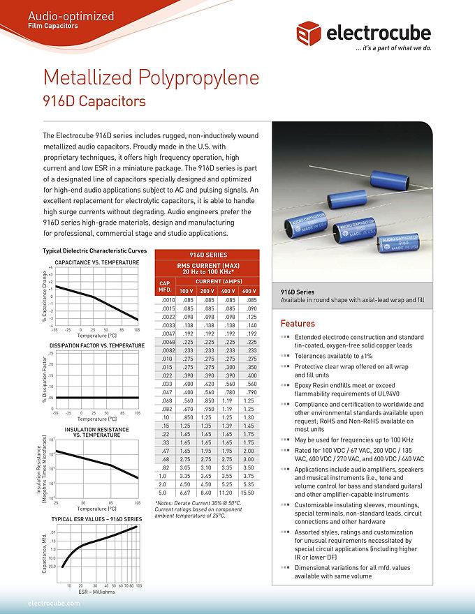 Electrocube 916D Series Audio Grade Capacitors
