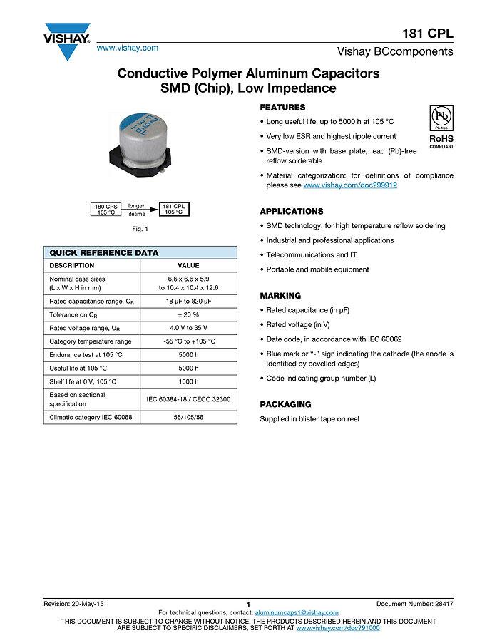 Vishay 181 CPL Series SMT Aluminum Polymer Capacitors