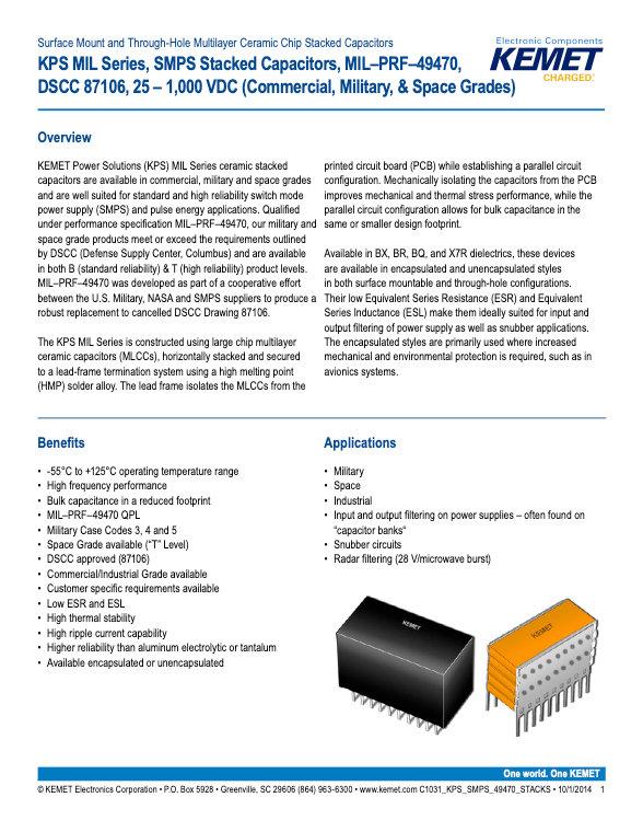 KEMET KPS MIL Series MLC Capacitors