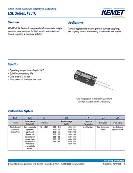 KEMET ESK Series Aluminum Electrolytic Capacitors