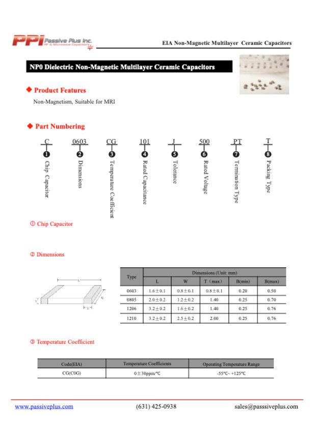 Passive Plus Non Magnetic MLCCs