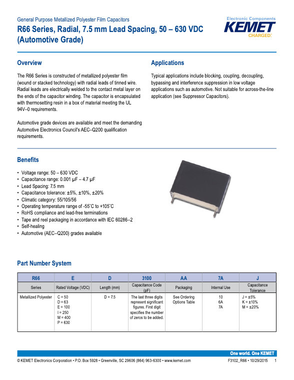 KEMET R66 Series Plastic Film Capacitors