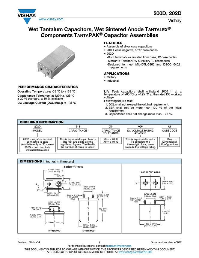 Vishay 200D/202D Wet Tantalum Capacitor Modules
