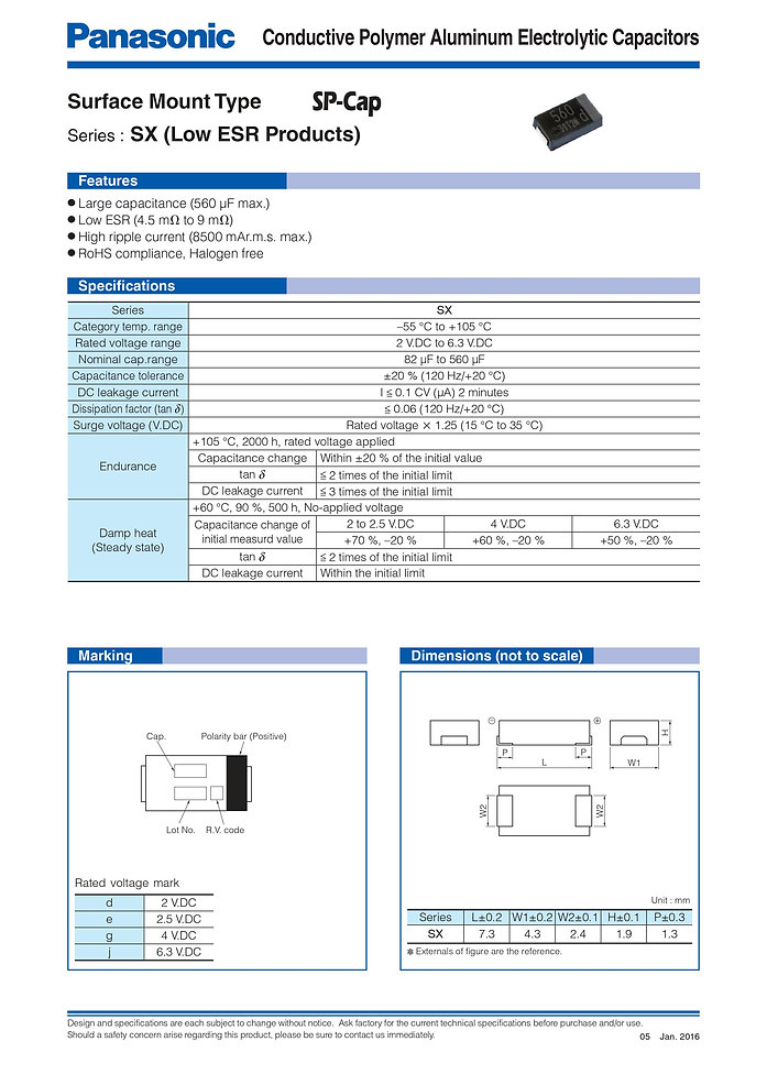 Panasonic SX Series Aluminum Polymer Capacitors
