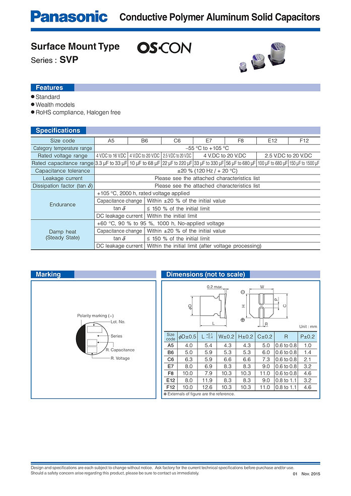 Panasonic SVP Series Aluminum Polymer Capacitors