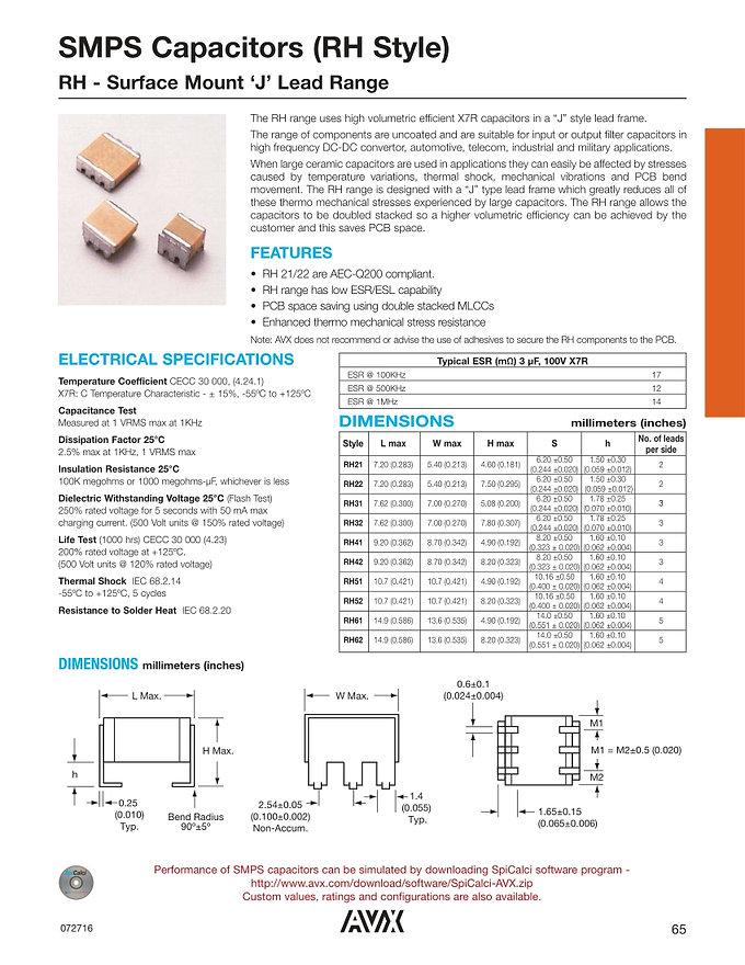 AVX RH Series MLC Capacitors
