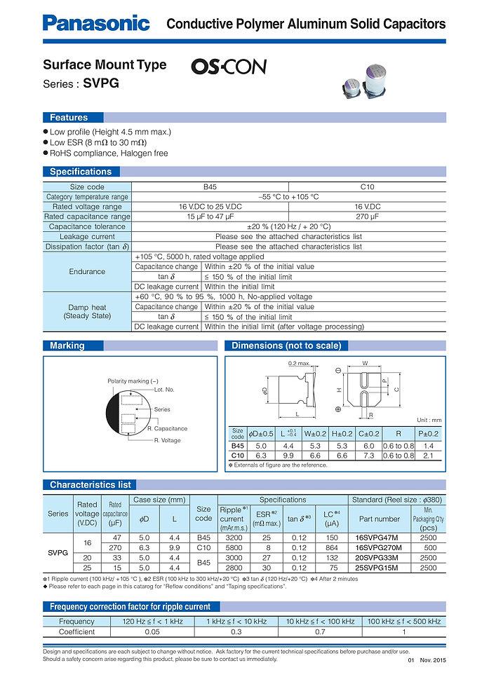 Panasonic SVPG Series Aluminu Polymer Capacitors