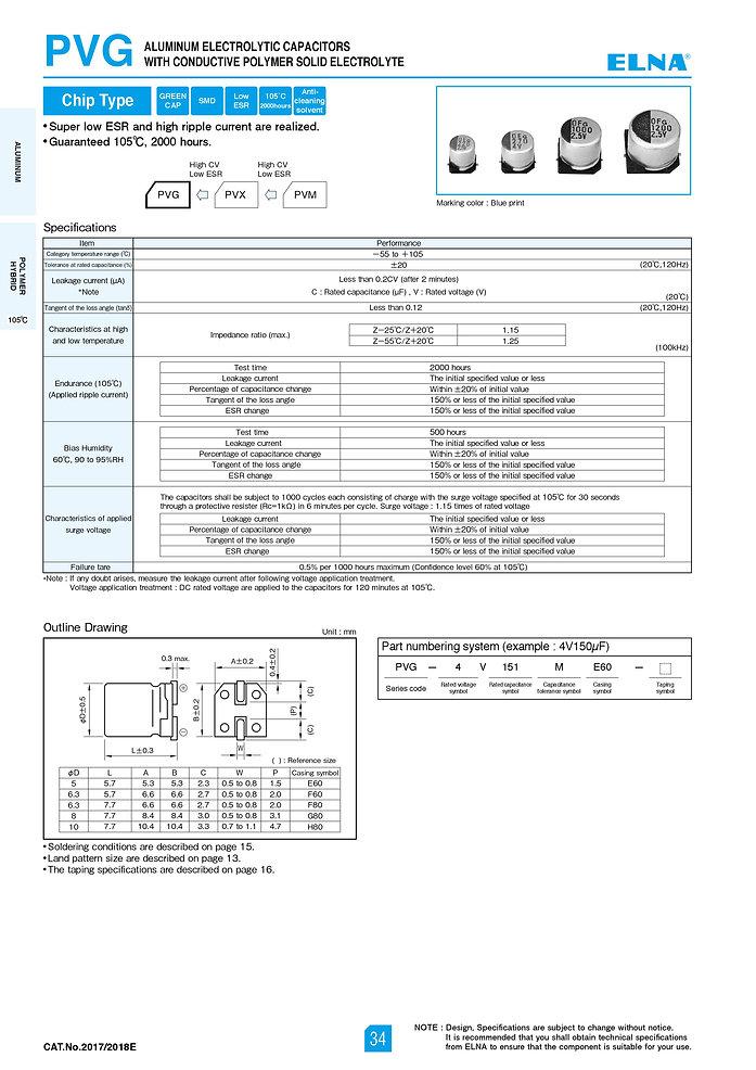 Elna PVG Series Aluminum Polymer Capacitors