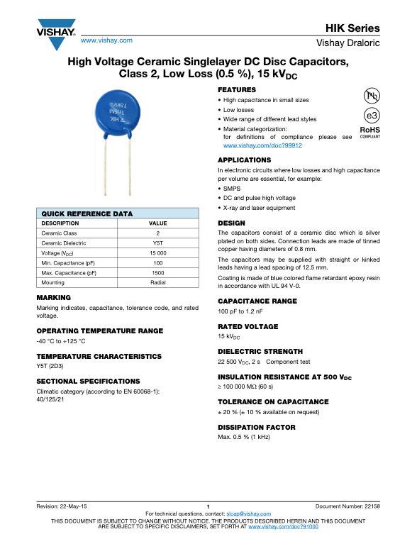 Vishay HIK Series Ceramic Disc Capacitors