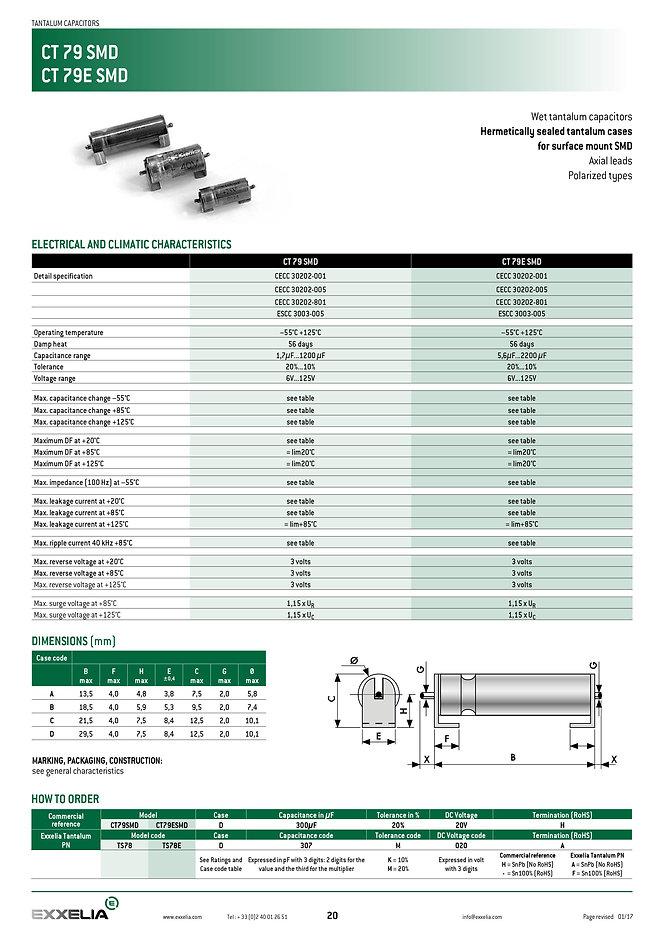 Exxelia CT79 SMD CMS Series Wet Tantalum Capacitors