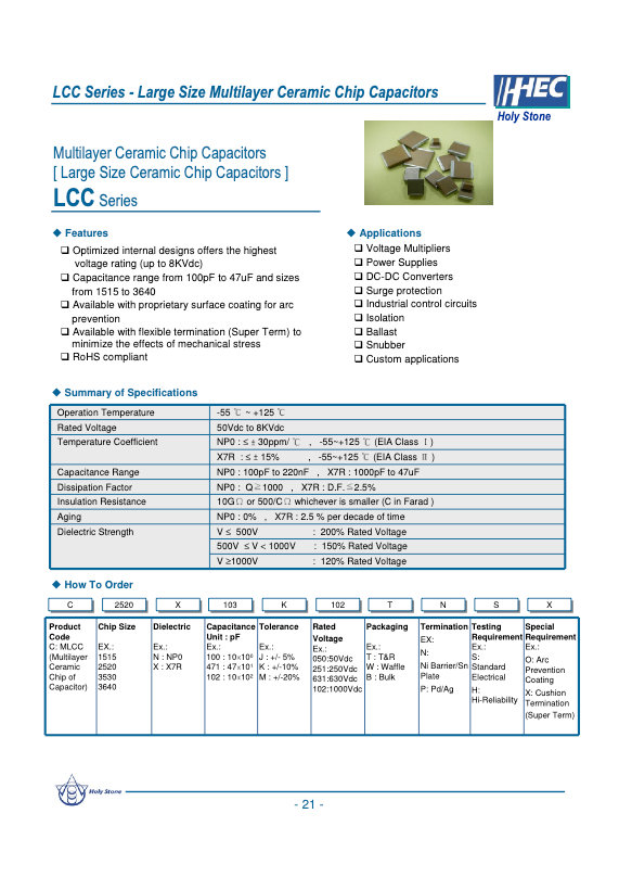 Holystone LCC Series MLC Capacitors