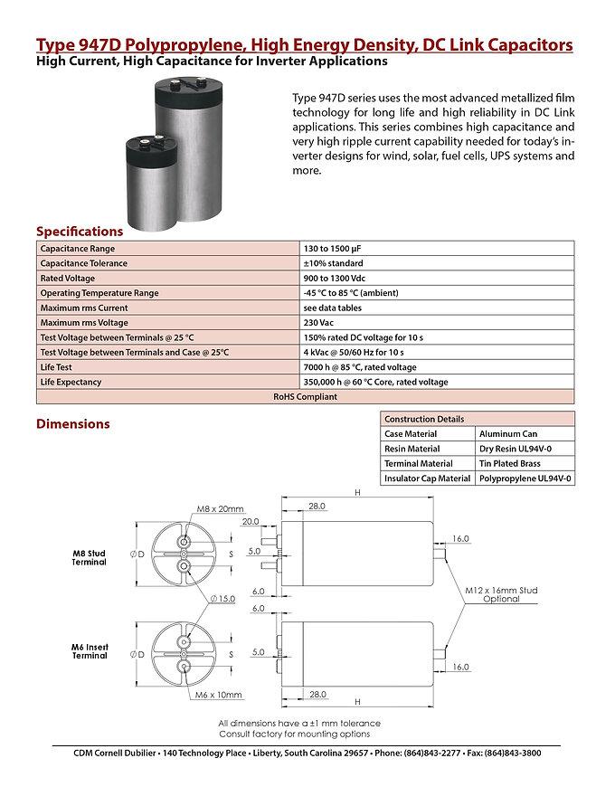 CDE 947D Series DC Link Capacitors