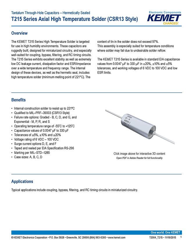 KEMET T215 Series Tantalum Capacitors