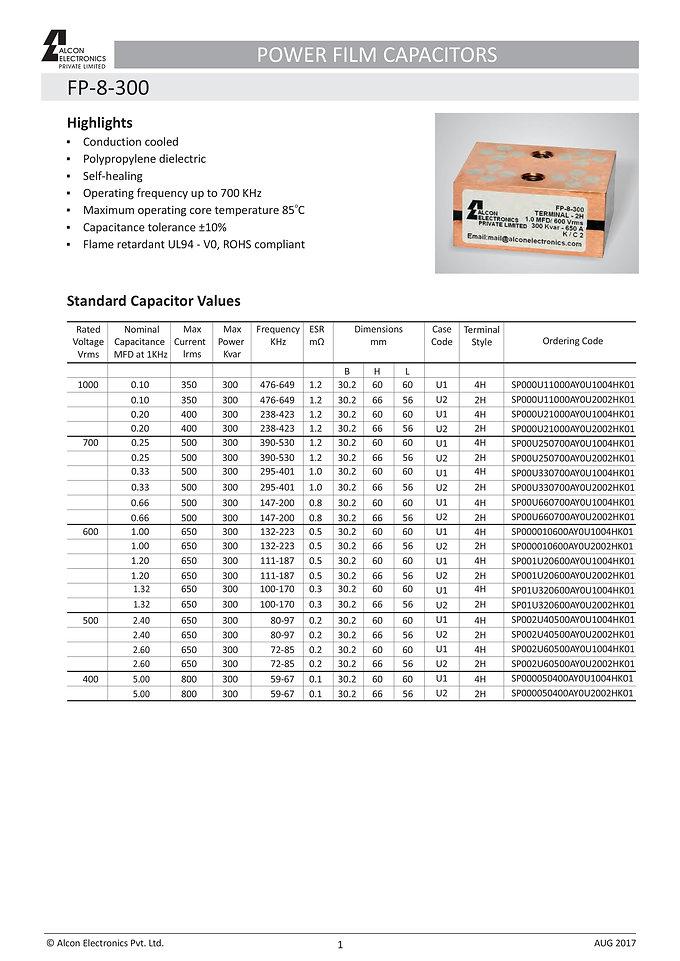 Alcon Electronics FP-8-300  Series Film Capacitors