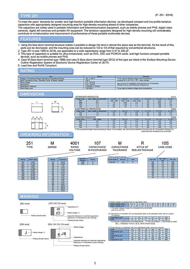 Matsuo 251M Series SMT Tantalum Capacitors