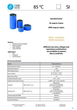 Fischer & Tausche SI Series Aluminum Capacitors