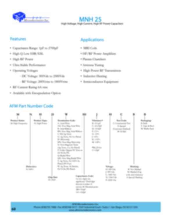 AFM Microelectronics MNH25 Series MLC Capacitors