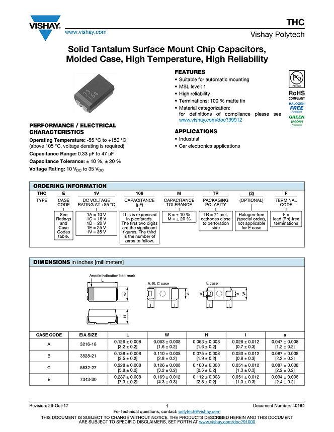 Vishay THC Series Tantalum Capacitors