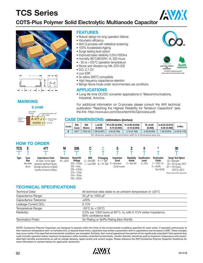 AVX TCS Series Tantalum Polymer Capacitors